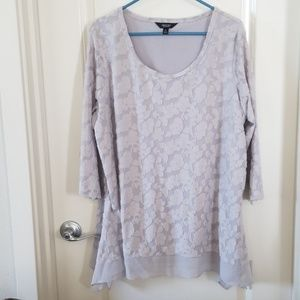 Grey blouse with gauze hem